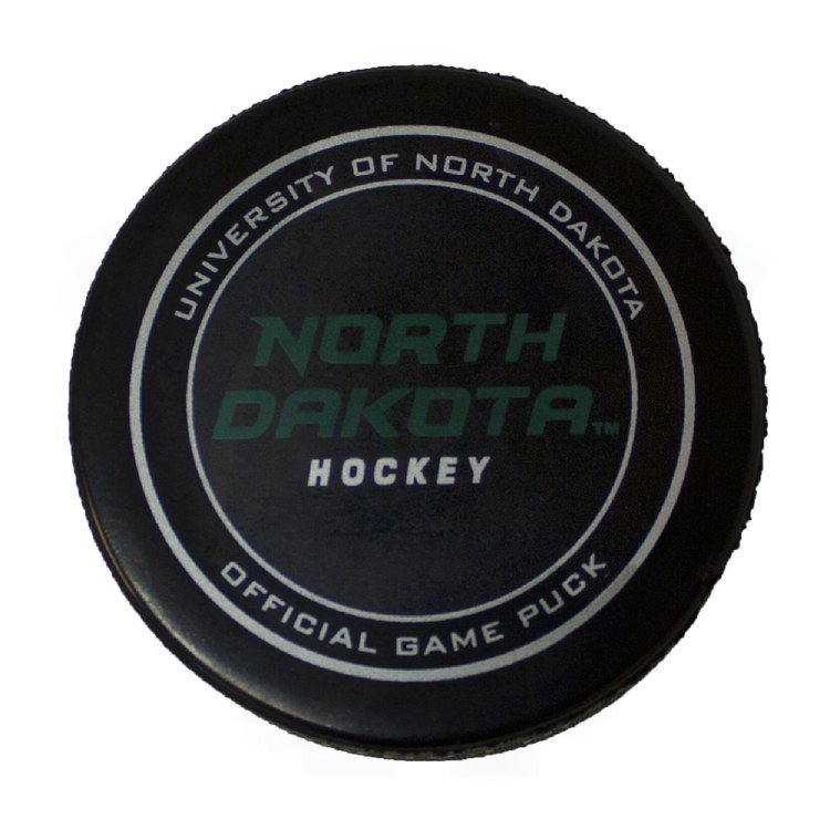 OFFICIAL ON-ICE UNIVERSITY OF NORTH DAKOTA HOCKEY GAME PUCK 2017/18 SEASON