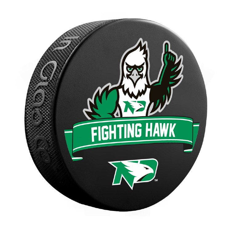 UNIVERSITY OF NORTH DAKOTA FIGHTING HAWKS MASCOT PUCK
