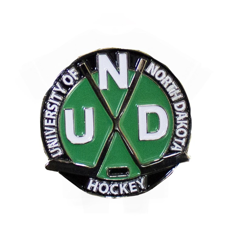 UNIVERSITY OF NORTH DAKOTA HOCKEY CROSSED STICKS LAPEL PIN