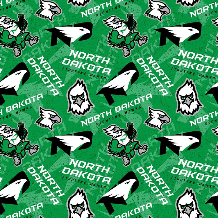 UNIVERSITY OF NORTH DAKOTA FIGHTING HAWKS COTTON FABRIC