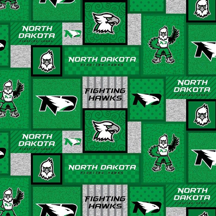 UNIVERSITY OF NORTH DAKOTA FIGHTING HAWKS FLEECE FABRIC