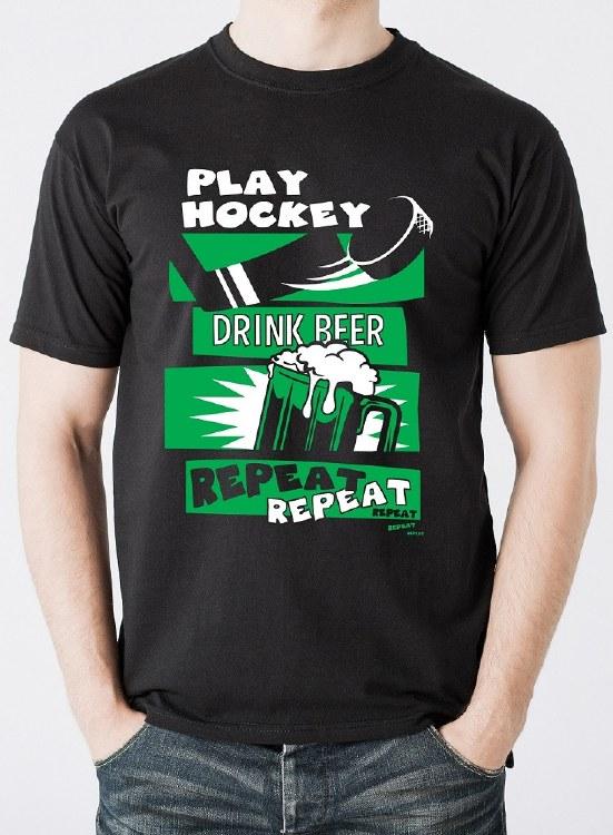 PLAY HOCKEY DRINK BEER TEE