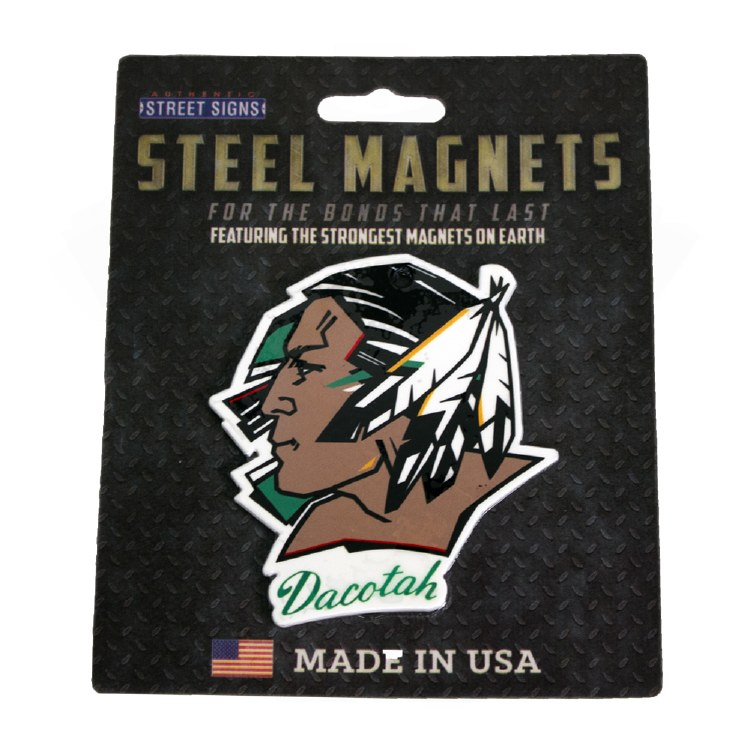 UNIVERSITY OF NORTH DAKOTA FIGHTING SIOUX LOGO STEEL MAGNET
