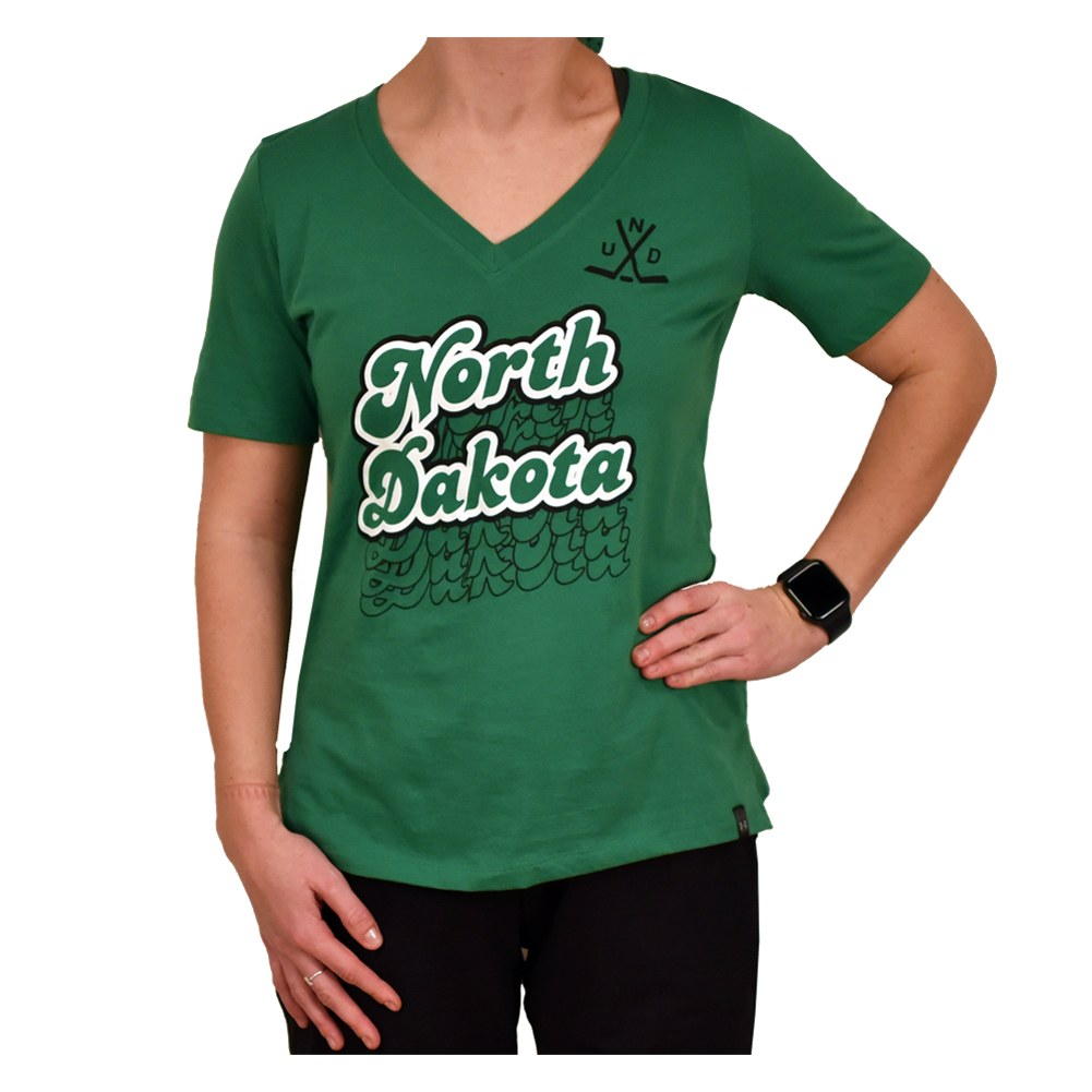 UNIVERSITY OF NORTH DAKOTA HOCKEY HIGHFALUTIN V-NECK TEE