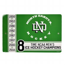 UNIVERSITY OF NORTH DAKOTA HOCKEY NCAA CHAMPION 8-TIME SIGN
