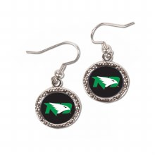 ROUND UNIVERSITY OF NORTH DAKOTA FIGHTING HAWKS EARRINGS