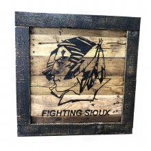 UNIVERSITY OF NORTH DAKOTA FIGHTING SIOUX FRAMED RECLAIMED WOOD LOGO