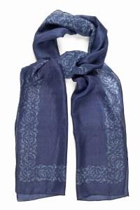 'Decorative Border' Silk Scarf (Blue)