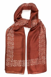 'Decorative Border' Silk Scarf (Berry)