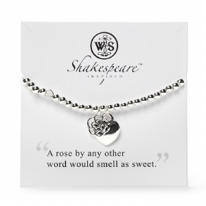 Silver Plated Romeo and Juliet Heart with a Rose Charm Bracelet
