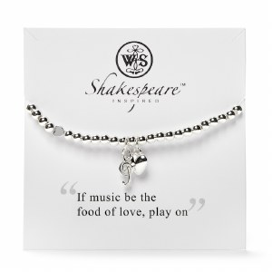 Silver Plated Twelfth Night Heart and Musical Note Charm Bracelet