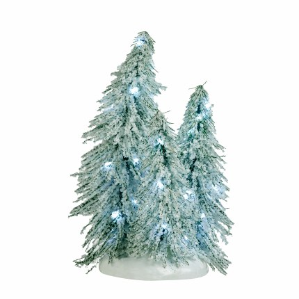 Christmas Village Christmas Tree with White lights Battery Operated 12cm
