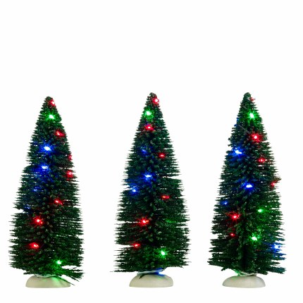 Christmas Village Christmas Tree Set of 3 with Multi Colour Lights Set of Three - Battery Operated 6 x 14.5cm