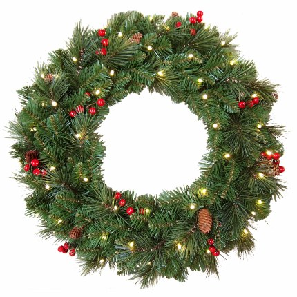 """24"""" Everyday Pre-Llit Artificial Christmas Wreath With 50 Warm White Battery Operated Lights With Timer"""