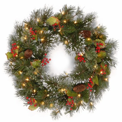 24 Inch Wintry Pine Pre Lit Wreath With 50 Warm white lights - Battery Operated