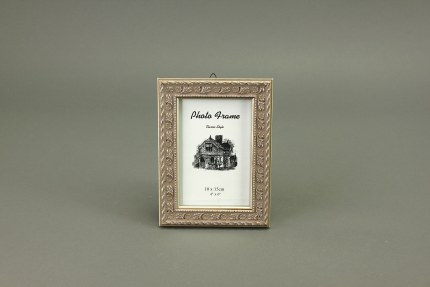 Antique Wooden Picture Frame Old Silver 10cm x 15cm