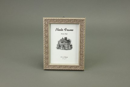 Antique Wooden Picture Frame Old Silver 13cm x 18cm