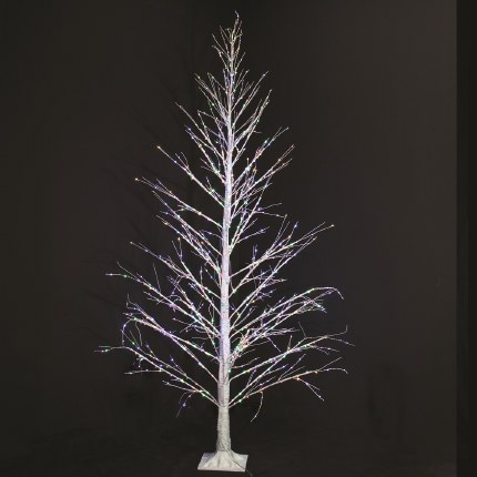 Christmas Silver Birch Tree Pre Lit 1100 Multi Coloured Twinkling Lights 2.2 Meter Tall