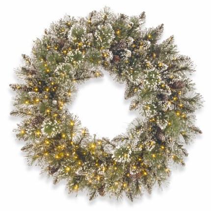 "30"" Glittery Bristle Pine Pre-Lit Wreath With 400 Warm White LED Lights"