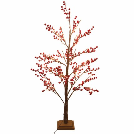 Christmas Cherry Tree With Red Berries and Lights 1.2m