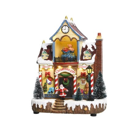 Christmas Village Scene LED Gift Shop 11L Multi 14x20x26cm
