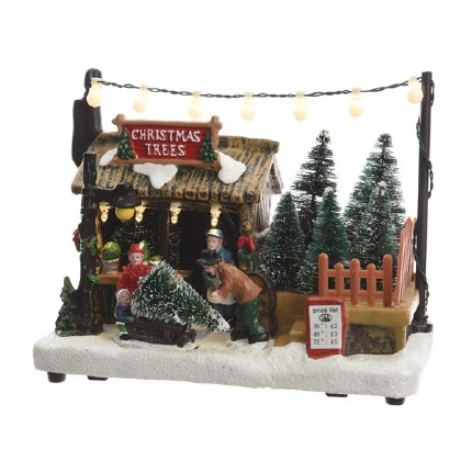 Christmas Village Scene LED Xmas Trees for Sale Stand 18x10.5x14cm