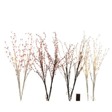Christmas Lights LED Branch Berry With 16 Brown Red or White Lights
