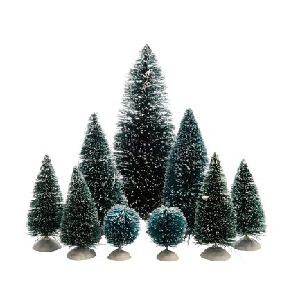 Christmas Village Christmas Pine Tree Pack Assorted