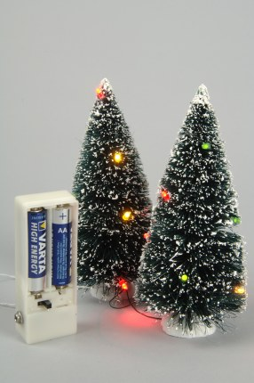Christmas Village Christmas Tree Set of Two with Multi Colour Lights 15cm