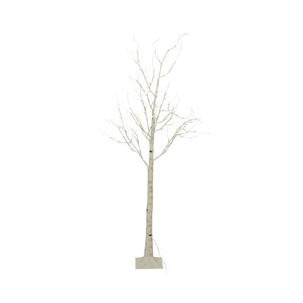Christmas Silver Birch Tree Pre Lit 160 Warm White Lights 2.4 Meter Tall