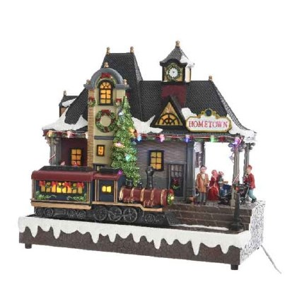 Christmas Village Scene Train Station With Moving Train 16x32x30cm
