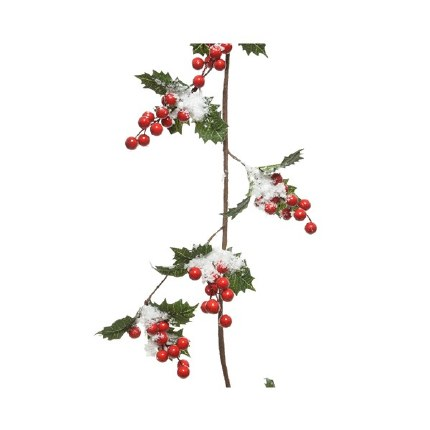 Christmas Garland Holly with Berries and Snow 15cm x 150cm