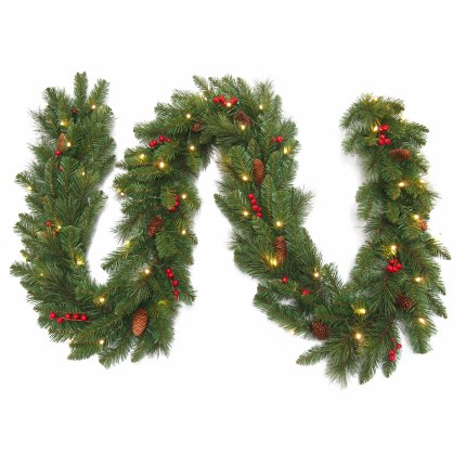 Artificial Christmas Garland.9 Foot Everyday Pre Lit Artificial Christmas Garland With 50 Warm White Battery Operated Lights With Timer