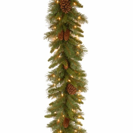 9 Foot Pine Cone Pre Lit Garland With 50 Warm White Lights - Battery Operated