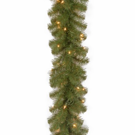 9 Foot Covington Pine 9 Foot Pre Lit Garland With 50 Warm White Lights