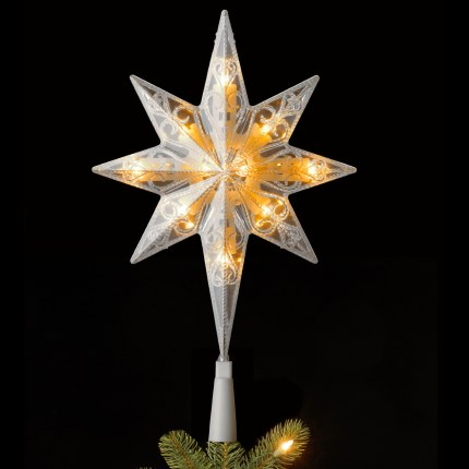 "11"" Bethlehem Star Tree Topper with 10 Warm White LED Lights Connectable"