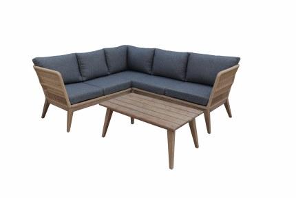 Bespoke Costa Corner 4 Seater Sofa Suite With Hardwood  Coffee Table - Summer Sale