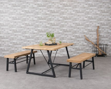 Dublin Picnic Table - Magnesium Table Top With Wooden Finish 91 X 151cm