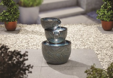 Fossil Leaf Water Feature with LED Lights
