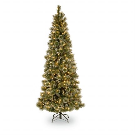 Christmas Tree With Lights.Glittery Bristle 7 5 Foot Slim Pre Lit Artificial Christmas Tree With 550 Warm White Led Lights