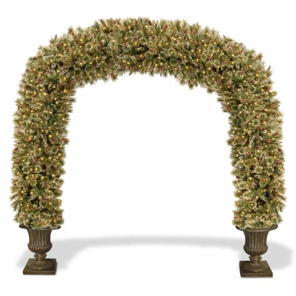 Glittery Bristle 8.5 Foot Pre-Lit Artificial Christmas Arch With 900 Warm White LED Lights