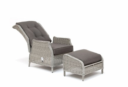 Classic Recliner And Foot-stool With Taupe Cushions - White Wash Weave