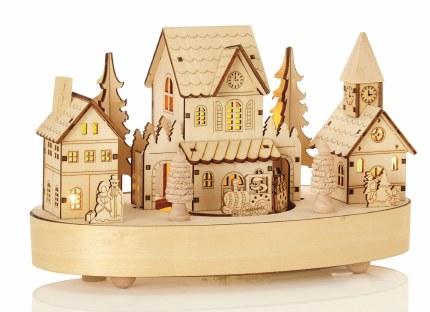 Christmas Wooden Village Scene with LED Lights & Music 27cm