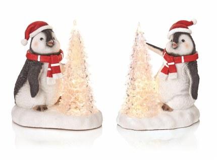 Christmas Penguin with LED Tree Scene 19x17cm