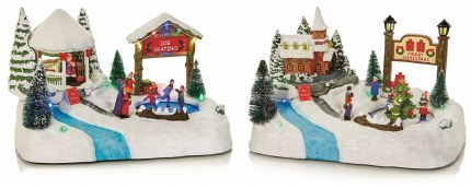 Christmas LED Ice Skating Scene 29cm