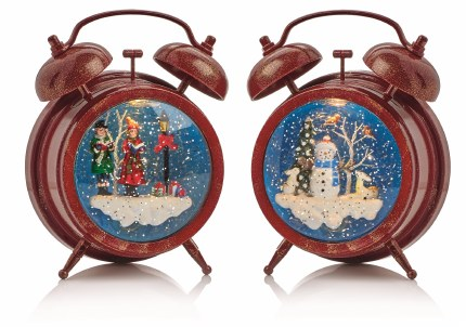 Christmas Water Spinner Alarm Clock with Carol Singers or Snowman Scene 19cm