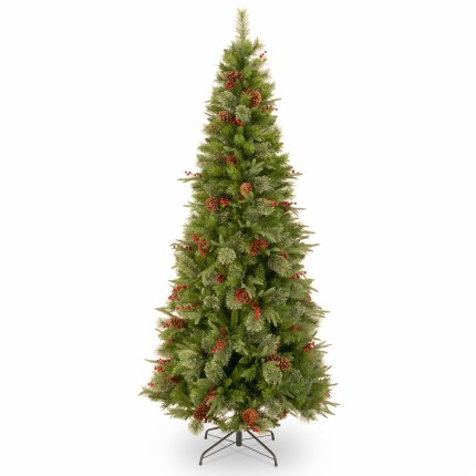 Colonial 6 Foot Slim Artificial Christmas Tree With Berries & Pinecones