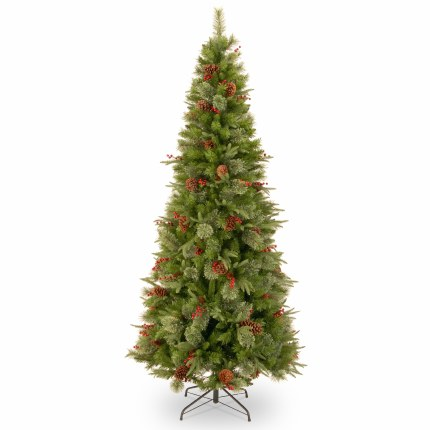 Colonial 7.5 Foot Slim Artificial Christmas Tree With Berries & Pinecones