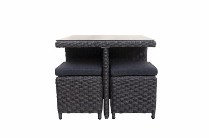 Rattan Cube Set With Four Stools and Cushions