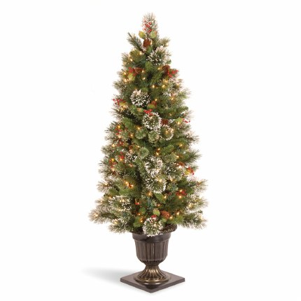 Wintry Pine 4 Foot Pre-Lit Artificial Christmas Tree With 100 Warm White Lights & Frosted Tips